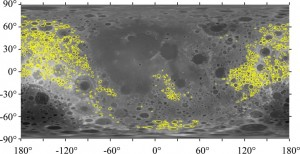 This cylindrical projection of the moon places the nearside of the moon in the center. The study focused on 1,185 craters outlined in yellow. Credit: Soderblom et al. 2015