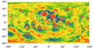 Caption: The nearside of the moon is centered in this cylindrical projection of the gravity anomalies across the moon. Gravity is less where the colors are cooler and greater where the colors are warmer. The map was corrected for difference in topography (known as a Bouguer correction), which also influences gravity. The study was limited to craters ranging from 27 kilometers to 201 kilometers (17 miles to 125 miles) wide; analysis of larger craters, like most of the red splotches, were outside the scope of this study. The illustration was made from GRAIL measurements.  Credit: Soderblom et al. 2015