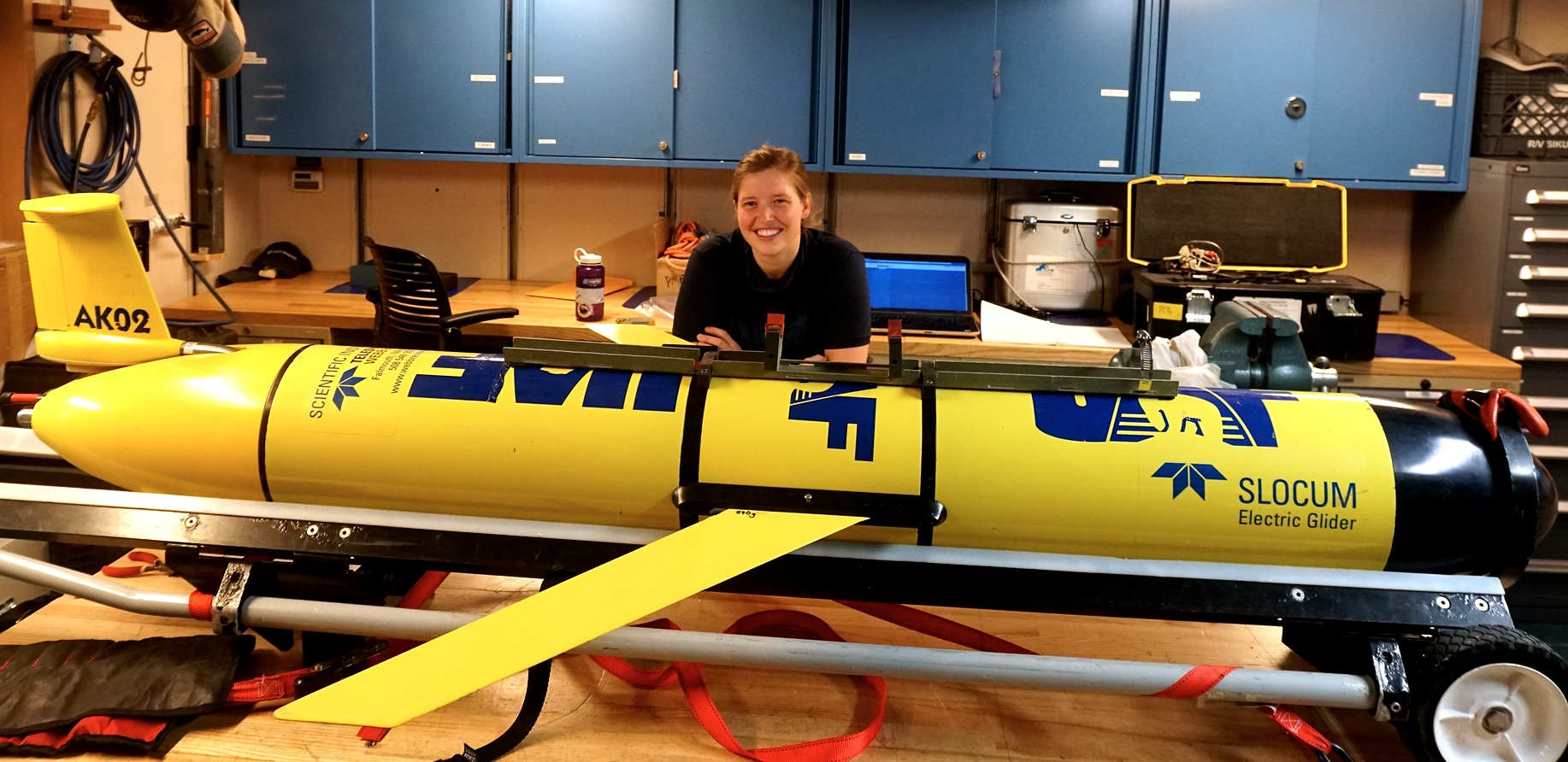 Brita Irving is a research scientist with the University of Alaska at Fairbanks. This is one of 6 underwater electric gliders that she oversees.