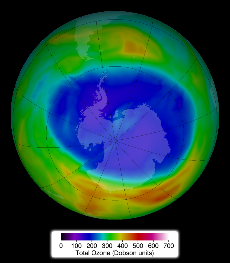 The ozone hole over Antarctica as of September 11, 2014. The anthropogenic compound HCFC-133a is a potent stratospheric ozone destroyer. Credit: NASA