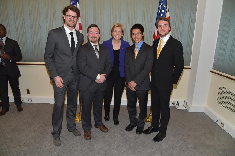 MIT Graduate Student Council members meeting with Senator Elizabeth Warren (D-MA). Left to right: Daniel Franke, Daniel Curtis, Sen. Warren, Peter Su, Michael McClellan