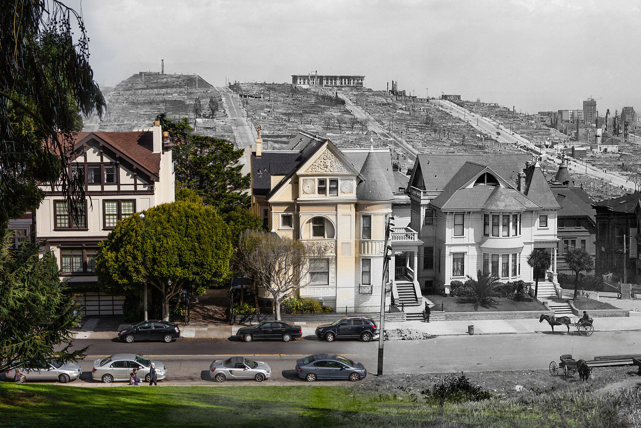 Looking across Gough Street from Lafayette Park in 1906/now