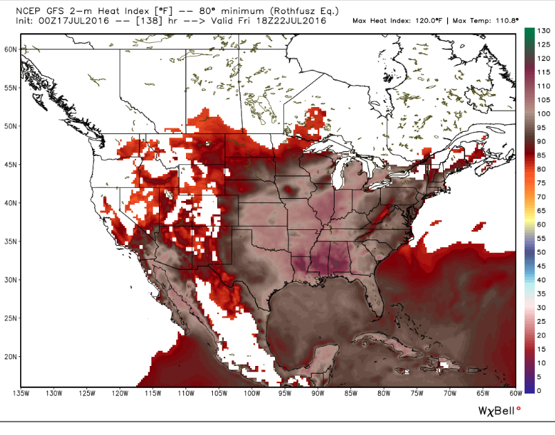 Heat index values near 105 as far north as Mass. are expected by Friday. (This is the NOAA GFS model).