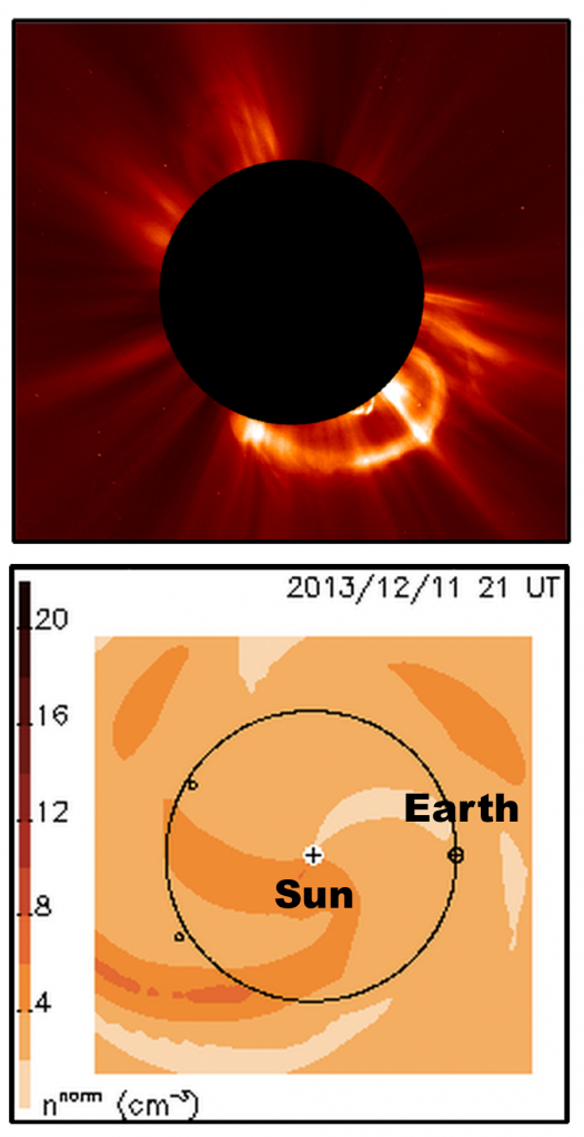 Above Taken by a NASA satellite on August 20, this image shows coronal mass ejection arcing away from the sun — the dark central circle.  Image Credit: ESA & NASA/SOHO, SDO Below The space weather conditions near Earth on Wednesday provided by the UCSD team. More material from solar ejections is contained within the darker orange regions. Image Credit: UCSD Center for Astrophysics and Space Sciences/Solar-Terrestrial Environment Laboratory (Japan)