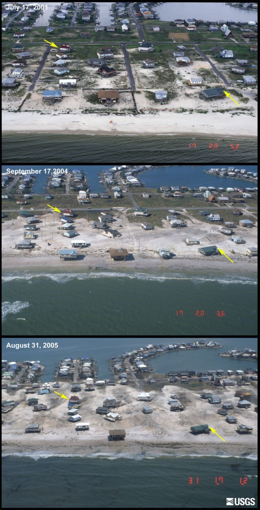 These photos show the changes that have occurred in the recent hurricane seasons to a developed section of Dauphin Island, a barrier island off the coast of Alabama. The top image was taken in July 2001, before Hurricane Lili (2002). The middle photograph was taken on September 17, 2004, immediately after the passage of Hurricane Ivan. The bottom image was acquired on August 31, 2005, two days after Hurricane Katrina. These photographs show overwash deposits extending roughly half way across the island after Ivan, while the post-Katrina photography shows overwash sand extending nearly the entire island width. A new study suggests that if wave heights and sea levels continue to rise, as they have been in recent decades, the erosion and flooding risk in the northern Gulf of Mexico could increase by up to 300 percent over the next 30 years. Credit: USGS.