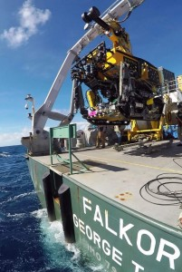 The remotely operated vehicles ROPOS launching from the research vessel Falkor during one of the calmer days at sea. Image credit: Cherisse Du Preez
