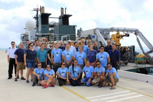 The science team and crew of the remotely operated vehicle ROPOS and research vessel Falkor in Tonga after a successful first half of the Vent Life expedition. Credit: SOI/Carlie Wiener