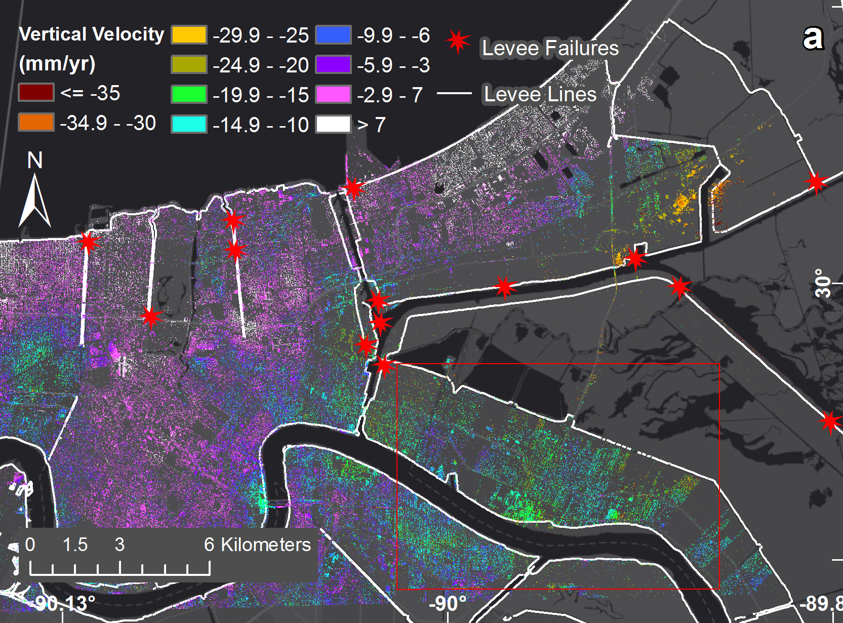 Hurricane Katrina New Orleans Map.New Study Maps Rate Of New Orleans Sinking Geospace Agu Blogosphere