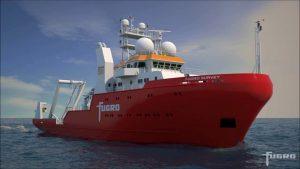 The Fugro survey vessel. Credit: Garrett Mitchell.