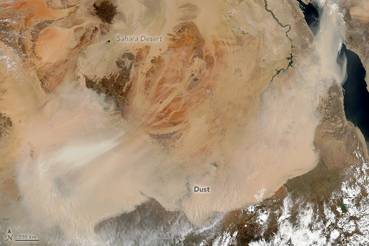 Wind-driven sandstroms, or haboobs, from the Sahara shut down airports and schools in Egypt and Sudan in March 2018. Credit: Jeff Schmaltz/NASA