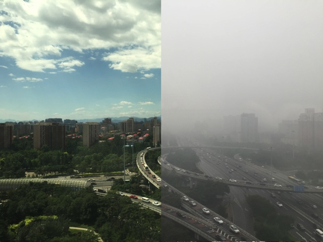 Beijing with haze and without haze Credit: Jonathan M. Moch/Harvard SEAS