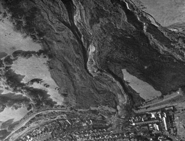 The Aberfan Disaster: View of the slope three hours after the disaster. Shows flow-slide with central mud-run, image from the official tribunal