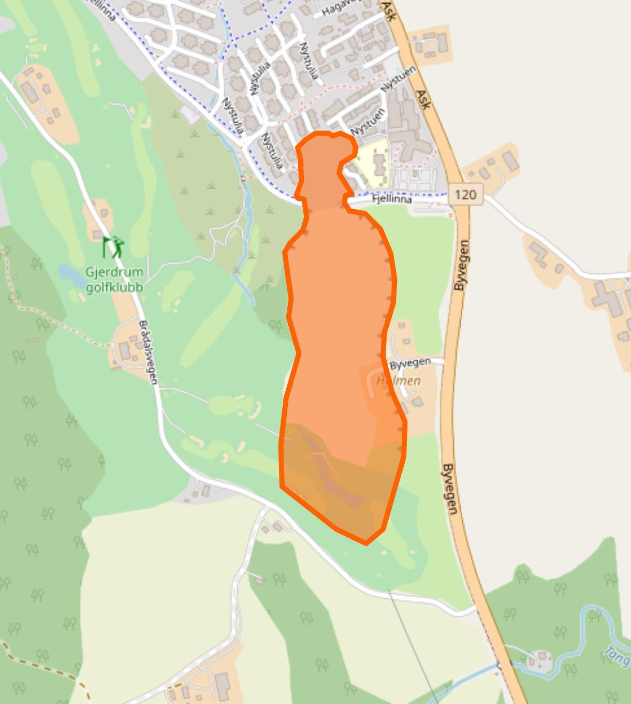 Open Street Map depiction of the margins of the Gjerdrum landslide