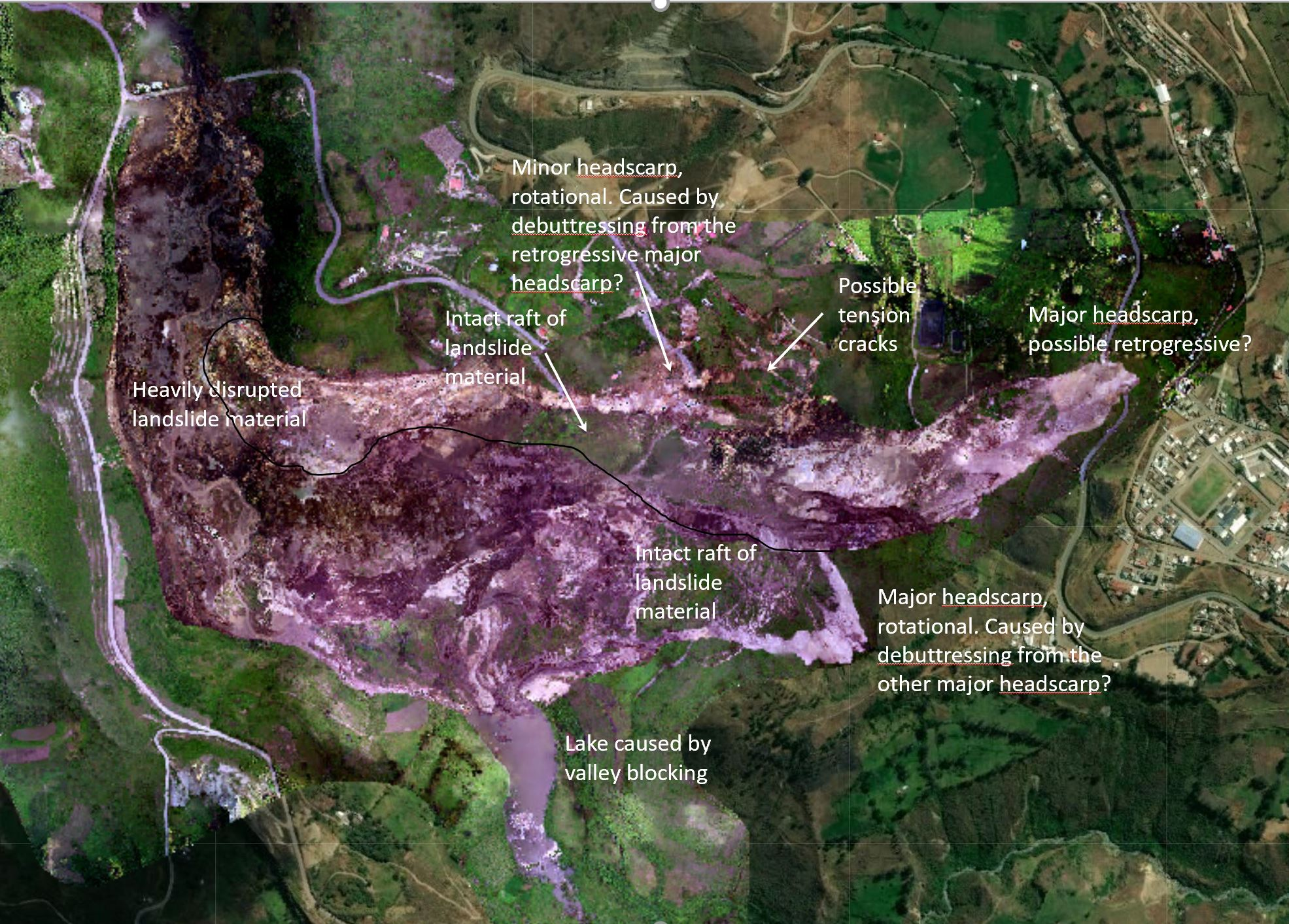 Annotated vertical aerial photograph of the Chunchi landslide