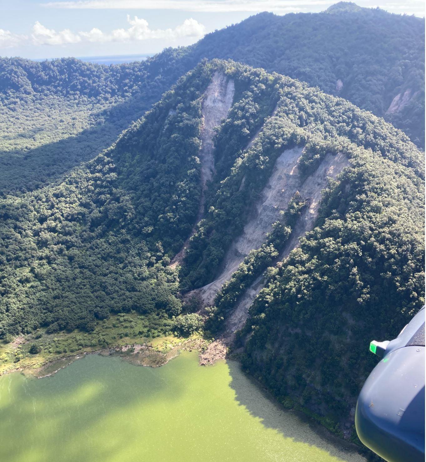 Landslides on the edge of Blue Lake on Raoul Island