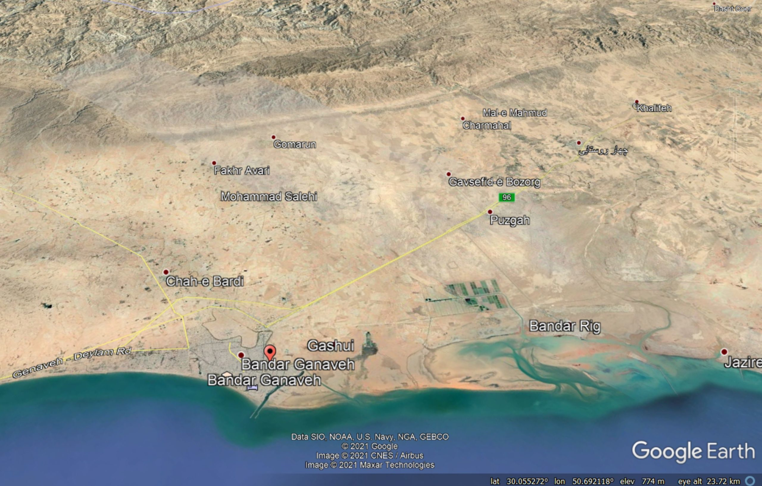Google Earth image of the topography of the area inland of Bandah Genaveh, site of the 18 April 2021 earthquake