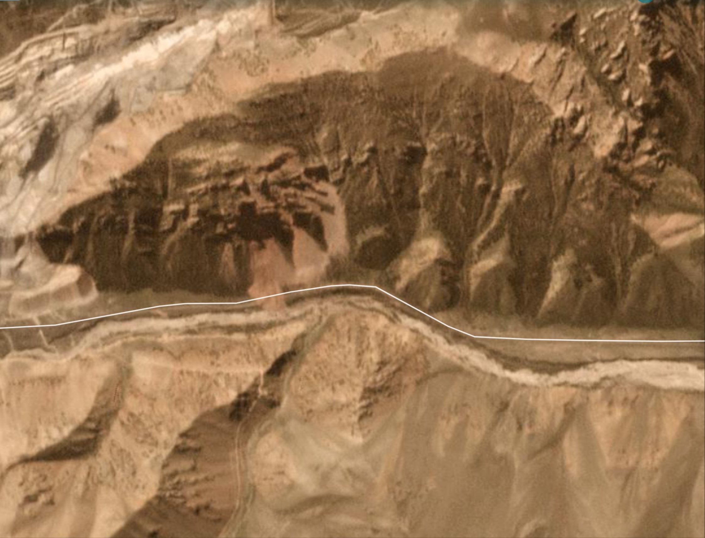 Planet Labs image of the site of the 14 September 2020 landslide at Kara-Keche in Kyrgyzstan.