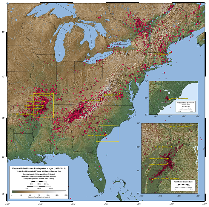 Eastern U.S. seismicity dating back to just 1974, a date before which seismometer coverage was sparse and quake recording incomplete. Beautiful map (there are more!) by Scott Marshall @ Appalachian State