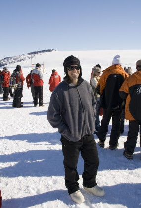 Physicist Kyle Story watching the Rugby match at McMurdo.