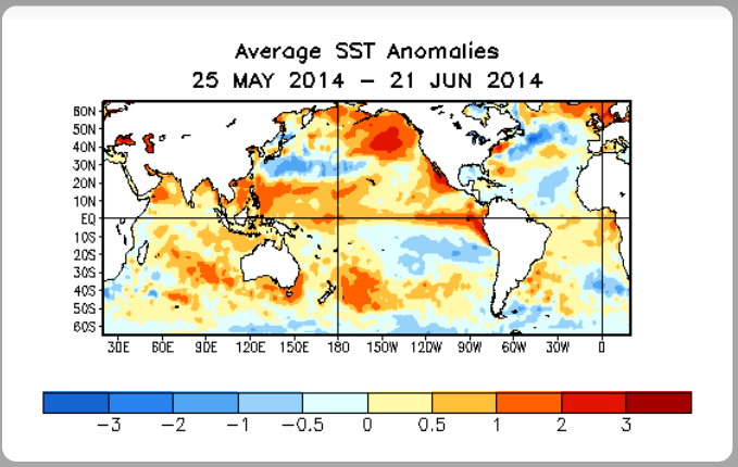 From NOAA Climate Prediction Center. Waters are warming in the Equatorial Pacific.