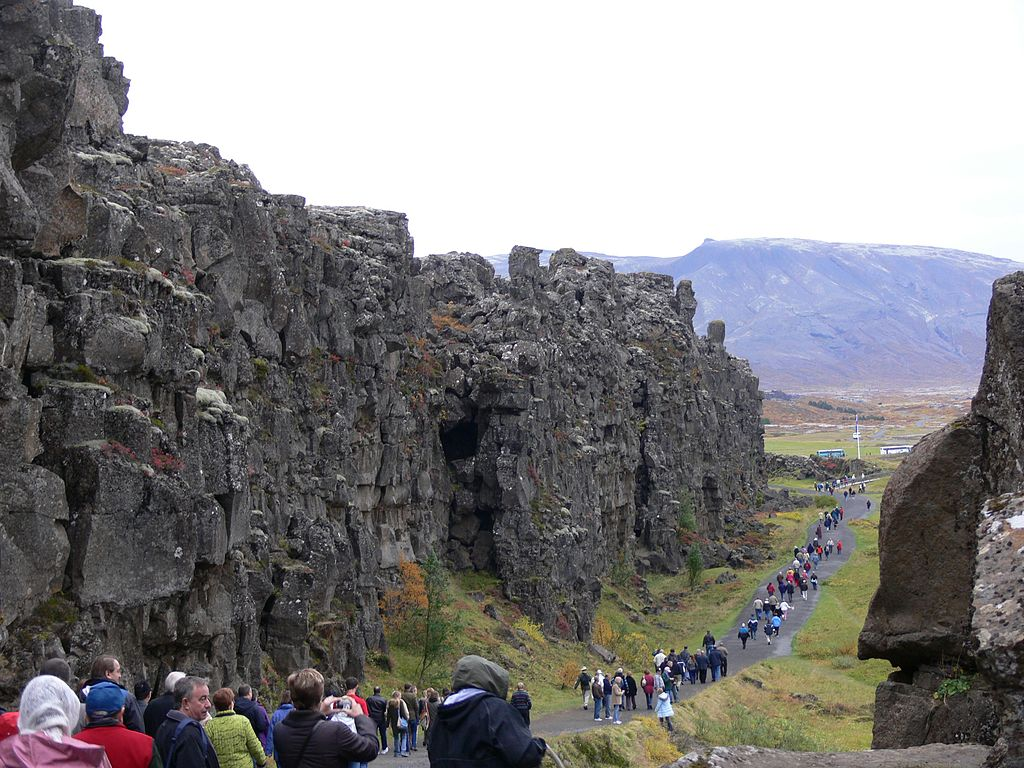 You can walk along the the Mid-Atlantic ridge in Iceland. The edge of the North American Plate is on the left. From P Marshall (Wikipedia)