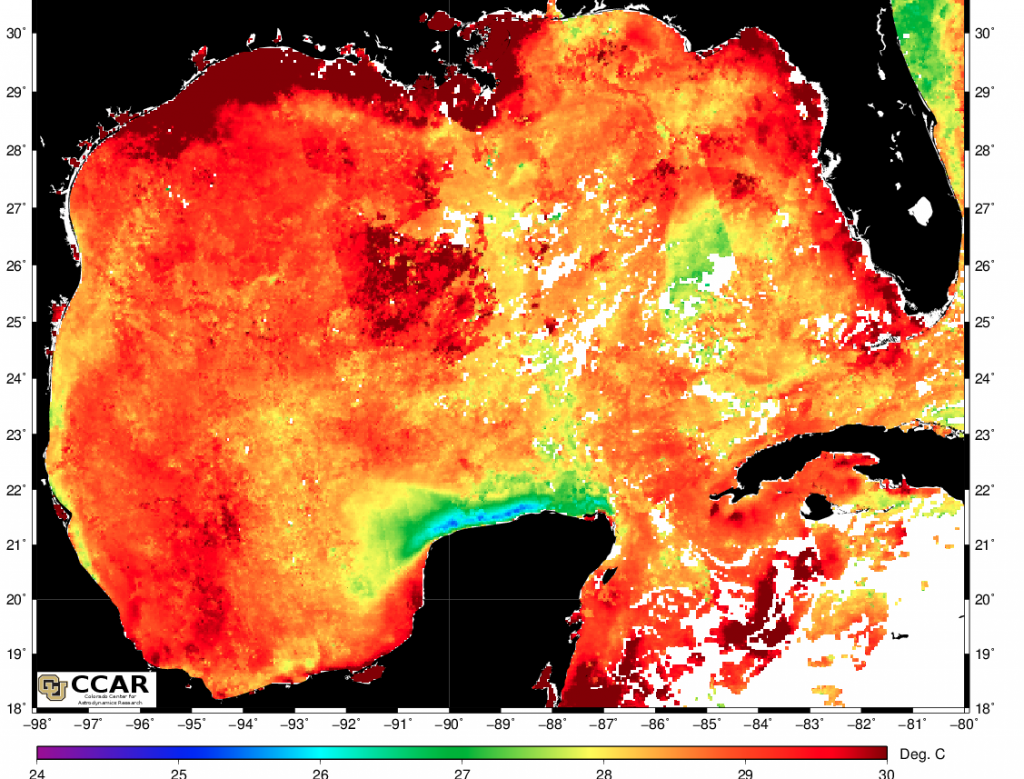 Current sea surface temps from the NASA Aqua satellite. Notice the very warm water along the Texas Coast.