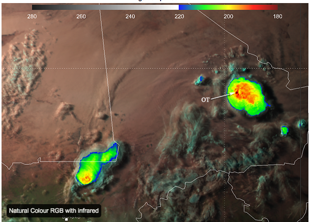 The cloud temp. of this overshooting top was measured at -94C by the European MSG2 satellite. Click the image to learn more from EUMETSAT.